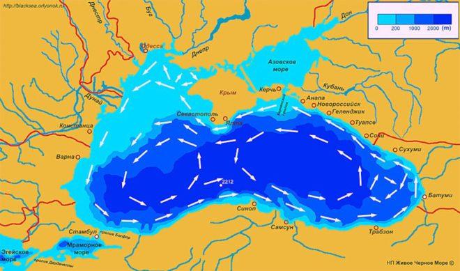 Схема течений Чёрного моря